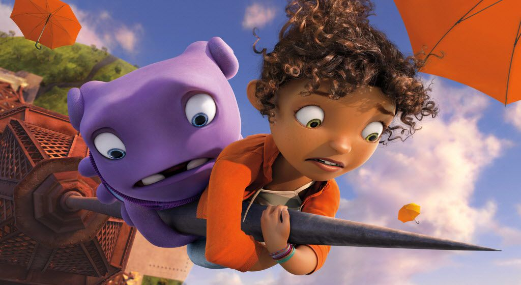 "In this image released by DreamWorks Animation, characters Oh, voiced by Jim Parsons, left, and Tip, voiced by Rihanna appear in a scene from the animated film ""Home."""