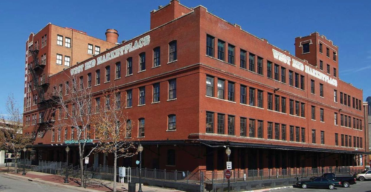 The West End Marketplace building was constructed starting in 1902 as a bakery for cookies and crackers.