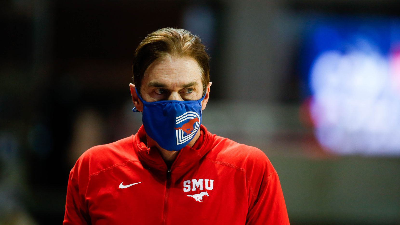 SMU head basketball coach Tim Jankovich watches from the sideline during the first half of a game against East Carolina at Moody Coliseum in Dallas on Wednesday, Dec. 16, 2020.