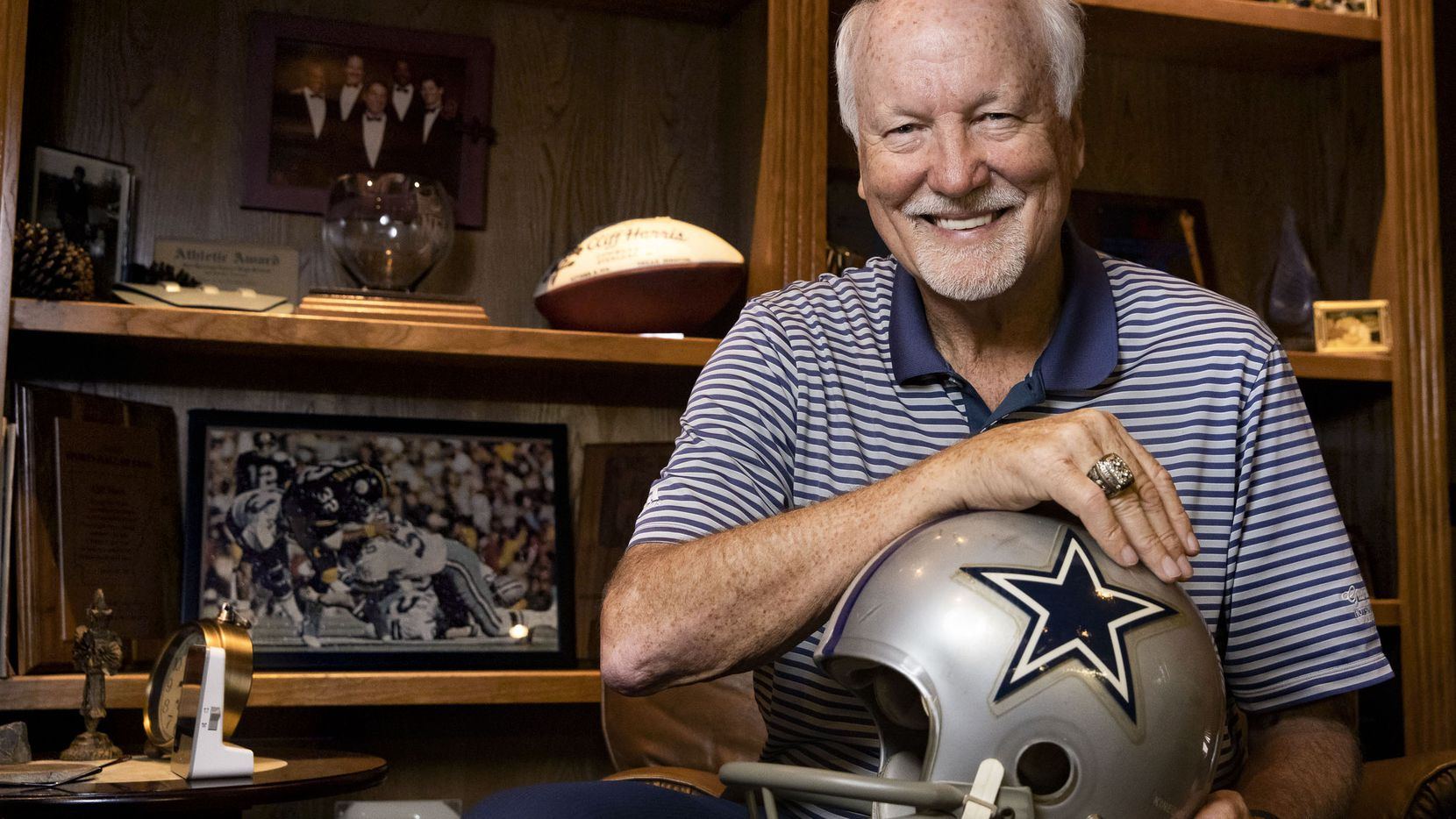 Former Dallas Cowboys great Cliff Harris poses for a portrait in the study of his home in Dallas on Tuesday, June 8, 2021. Harris was elected into the Pro Football Hall of Fame Centennial Class of 2020.