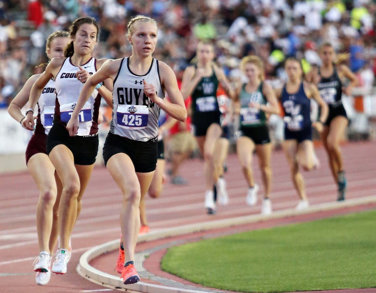 Denton Guyer'sBrynn Brown competes in the 6A Girls 1600 meter run during the UIL state track meet at the Mike A. Myers Stadium, at the University of Texas on May 8, 2021 in Austin, Texas.