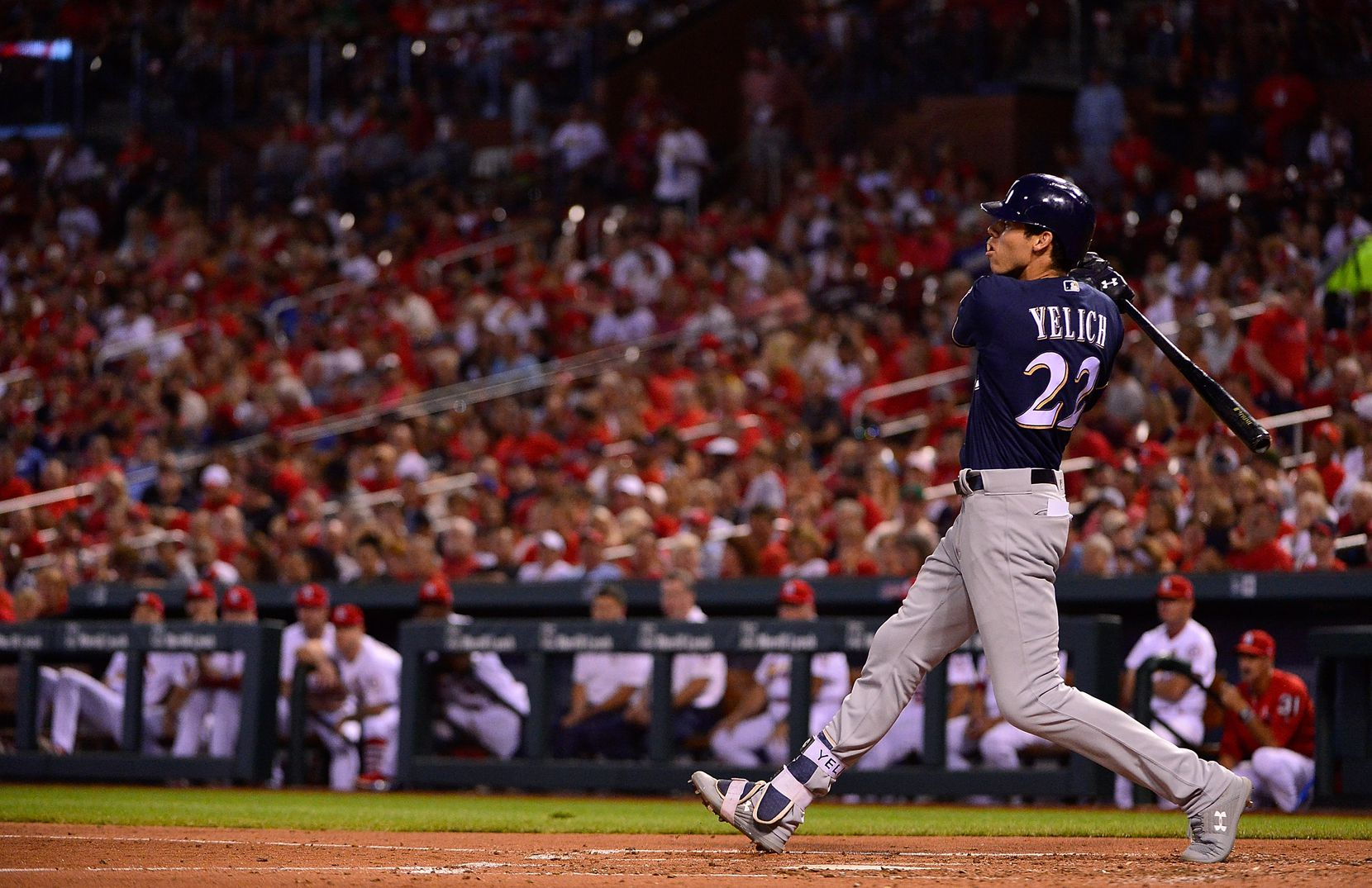 FILE - Brewers outfielder Christian Yelich (22) hits a double during the third inning of a game against the Cardinals at Busch Stadium on Aug. 17, 2018, in St Louis. (Photo by Jeff Curry/Getty Images)