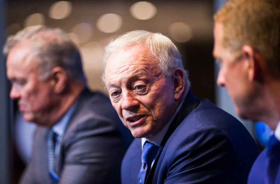 Dallas Cowboys Executive Vice President and CEO Stephen Jones, owner Jerry Jones and head coach Jason Garrett answer questions from reporters after choosing defensive end Taco Charlton in round one of the 2017 NFL Draft on Thursday, April 27, 2017 at The Star in Frisco, Texas. (Ashley Landis/The Dallas Morning News)