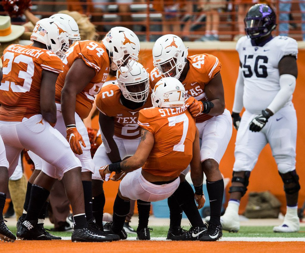 Texas Longhorns defensive back Caden Sterns (7) celebrates after an interception during the third quarter of a college football game between TCU and the University of Texas on Saturday, September 22, 2018 at Darrell K Royal - Texas Memorial Stadium in Austin. (Ashley Landis/The Dallas Morning News)