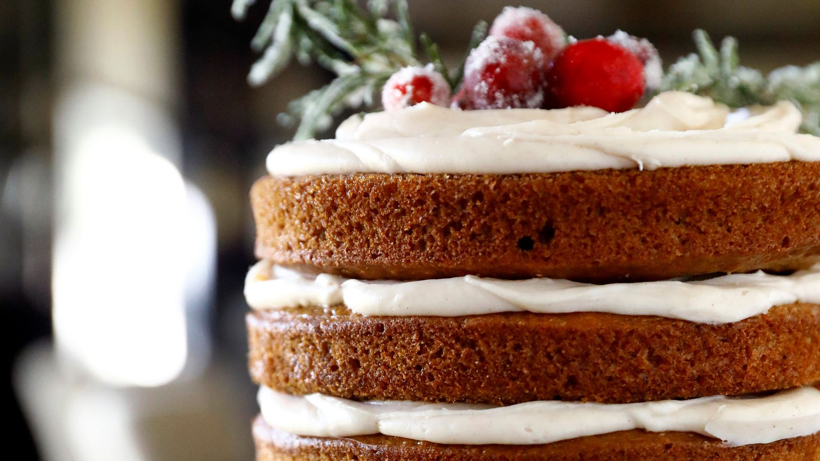 Gingerbread Layer Cake with Spiced Cream Cheese Icing  is made with buttermilk and sour cream to ensure a super-moist texture. (Tom Fox/The Dallas Morning News)