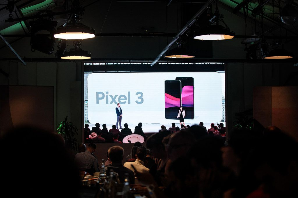 A live stream is displayed for invited guests at a Google hardware launch event at The Yard on October 9, 2018 in London, England.