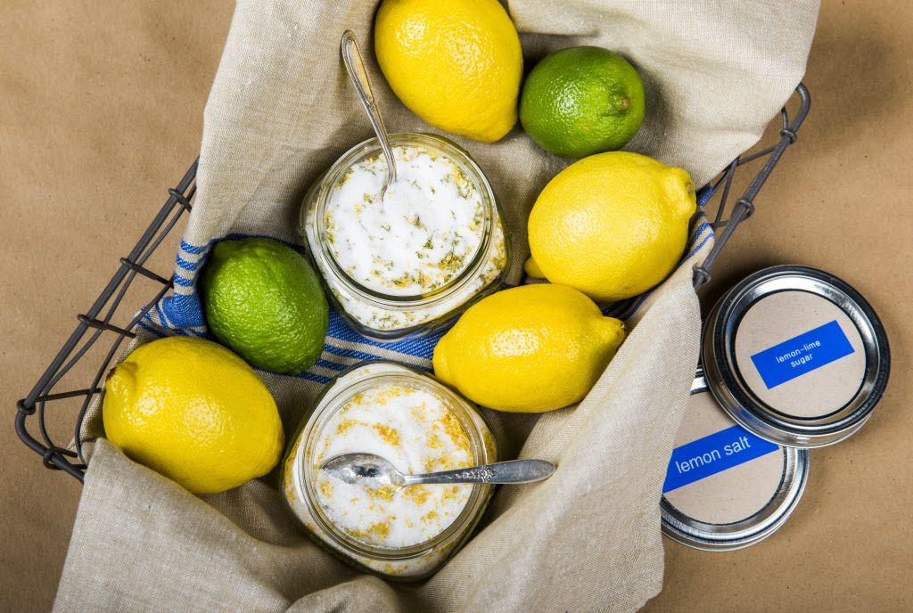 A lemon basket with lemon salt, lemon-lime sugar and fresh lemons and limes.
