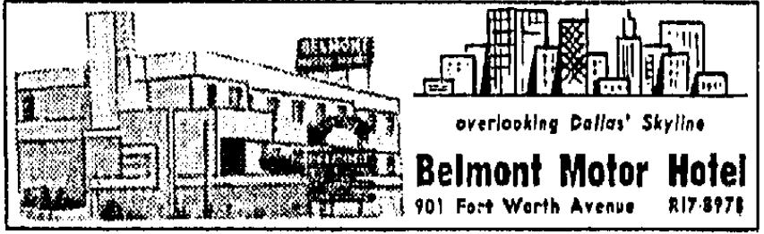An ad for the Belmont Hotel that ran in The Dallas Morning News on June 6, 1965