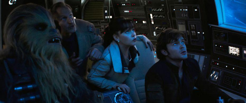 Joonas Suotamo, from left, Woody Harrelson, Emilia Clarke and Alden Ehrenreich