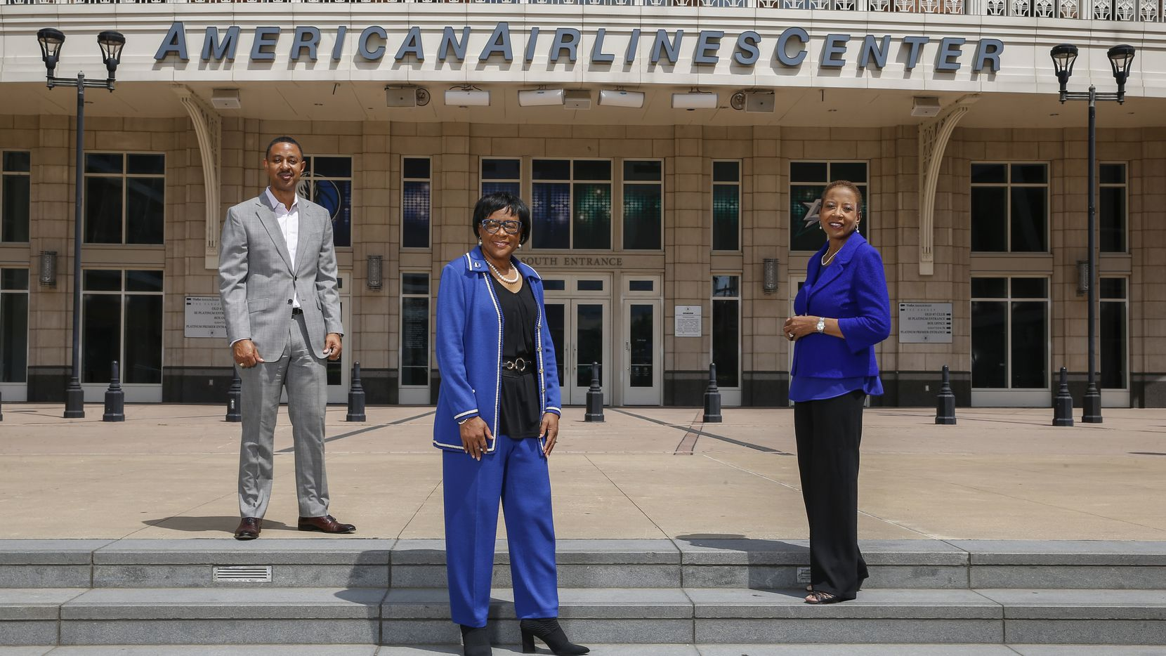 Corey Anthony (left), chief diversity officer at AT&T, Cynt Marshall, CEO of the Dallas Mavericks, and Hattie Hill, CEO of the T.D. Jakes Foundation, posed for a photograph on July 8 at Victory Plaza in Dallas.