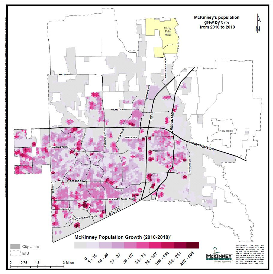 The map shows McKinney's population growth from 2010 to 2018, when the city estimates its population grew by 37 percent.