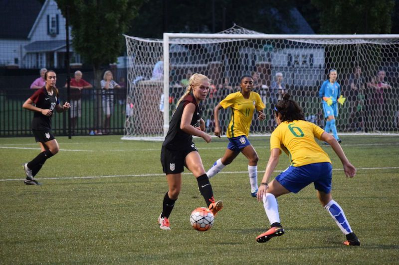 Taryn Torres plays for the US against Brazil.