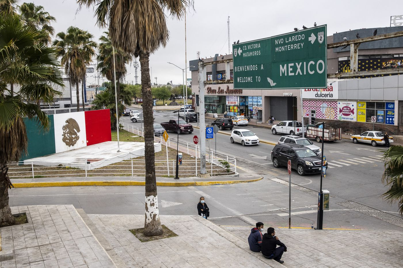 The plaza near the international bridge leading into Reynosa, in Mexico. Although the U.S. continues to expel migrants under Title 42 — a pandemic-related public order still in place and left over from the Trump administration, the Mexican government in Tamaulipas is not allowing the return of expelled migrant families with children age six or under.