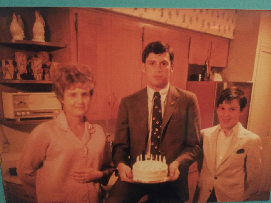 Wanda, Pat and Tim Cowlishaw on the occasion of Pat's 17th birthday in 1968.