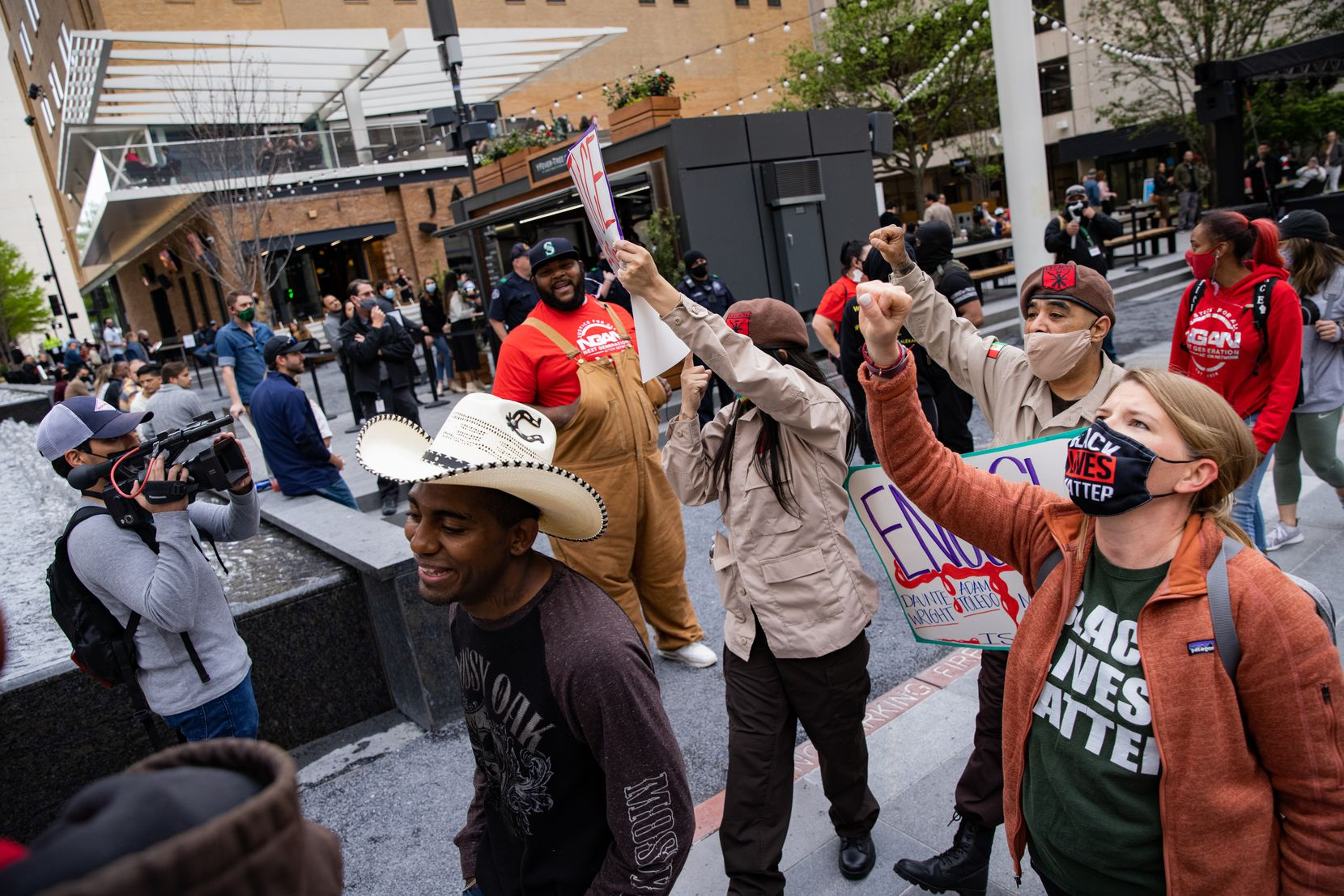 On April 17, 2021, members of the Next Generation Action Network led a protest through the AT&T Discovery District seeking justice for Adam Toledo, Daunte Wright and Marvin Scott III.