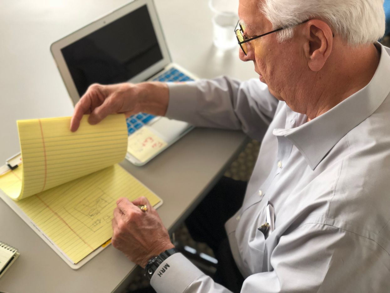 Marx Howell maps out a crime scene on March 16, 2018. Marx, the state's foremost forensic hypnosis expert, says the tool can help law enforcement unlock or refine the memories of crime witnesses and victims.