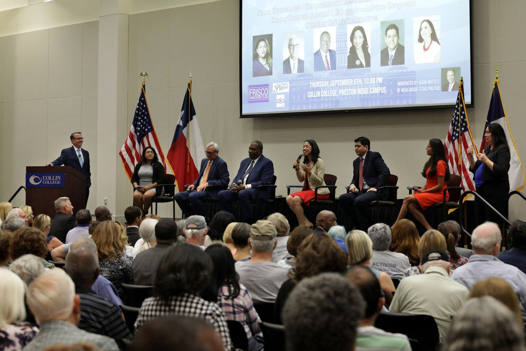 Candidates speak during a Democratic Senate candidate debate at the Collin College Preston Ridge Campus in Frisco on Sep. 5, 2019. Shown (seated from left), are Sema Hernandez, former U.S. Rep. Chris Bell, State Sen. Royce West, Houston Council member Amanda Edwards, Adrian Ocegueda, and Cristina Tzintzun Ramirez.  The candidates are vying to lead the race to unseat Republican Senator John Cornyn of Texas. One of the contest's leading contenders, former Air force helicopter pilot and businesswoman MJ Hegar, did not attend the forum.