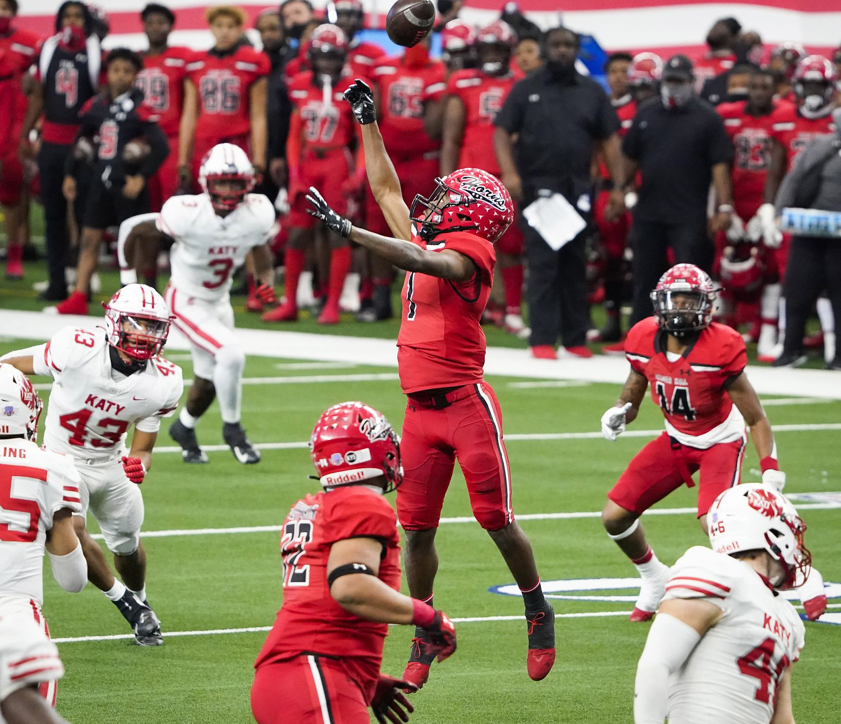 Cedar Hill wide receiver Anthony Thomas IV (1) has a pass go off his hands during the first half of the Class 6A Division II state football championship game against Katy at AT&T Stadium on Saturday, Jan. 16, 2021, in Arlington, Texas.