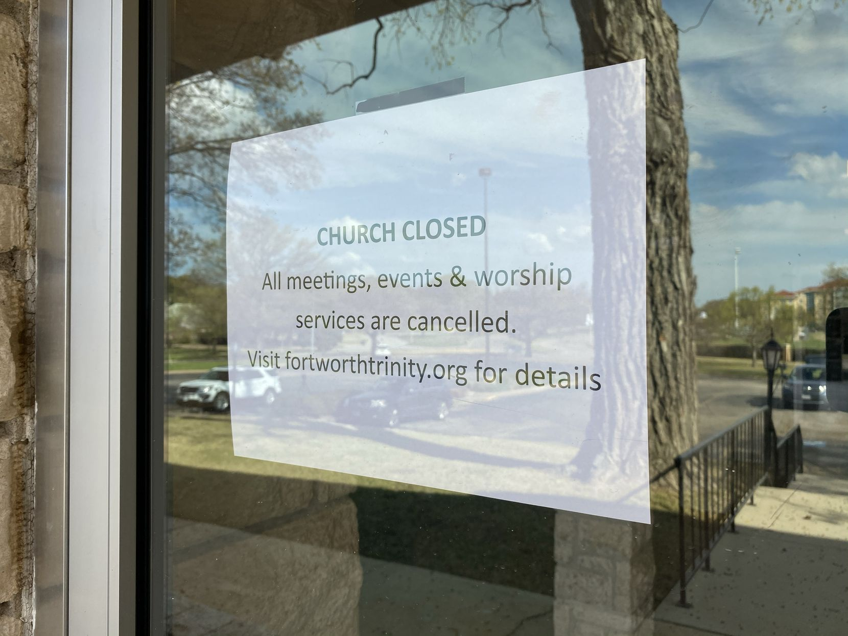 A sign at the Trinity Episcopal Church in Fort Worth, TX, shows the campus is closed as of Mar. 11, 2020. A rector at the church tested presumptive positive for the 2019 novel coronavirus, the church said on its website. The Rev. Dr. Robert Pace is the first such case in Tarrant County.