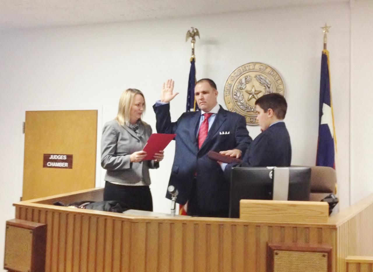 Bill Metzger at his swearing-in ceremony as a Dallas County Justice of the Peace.