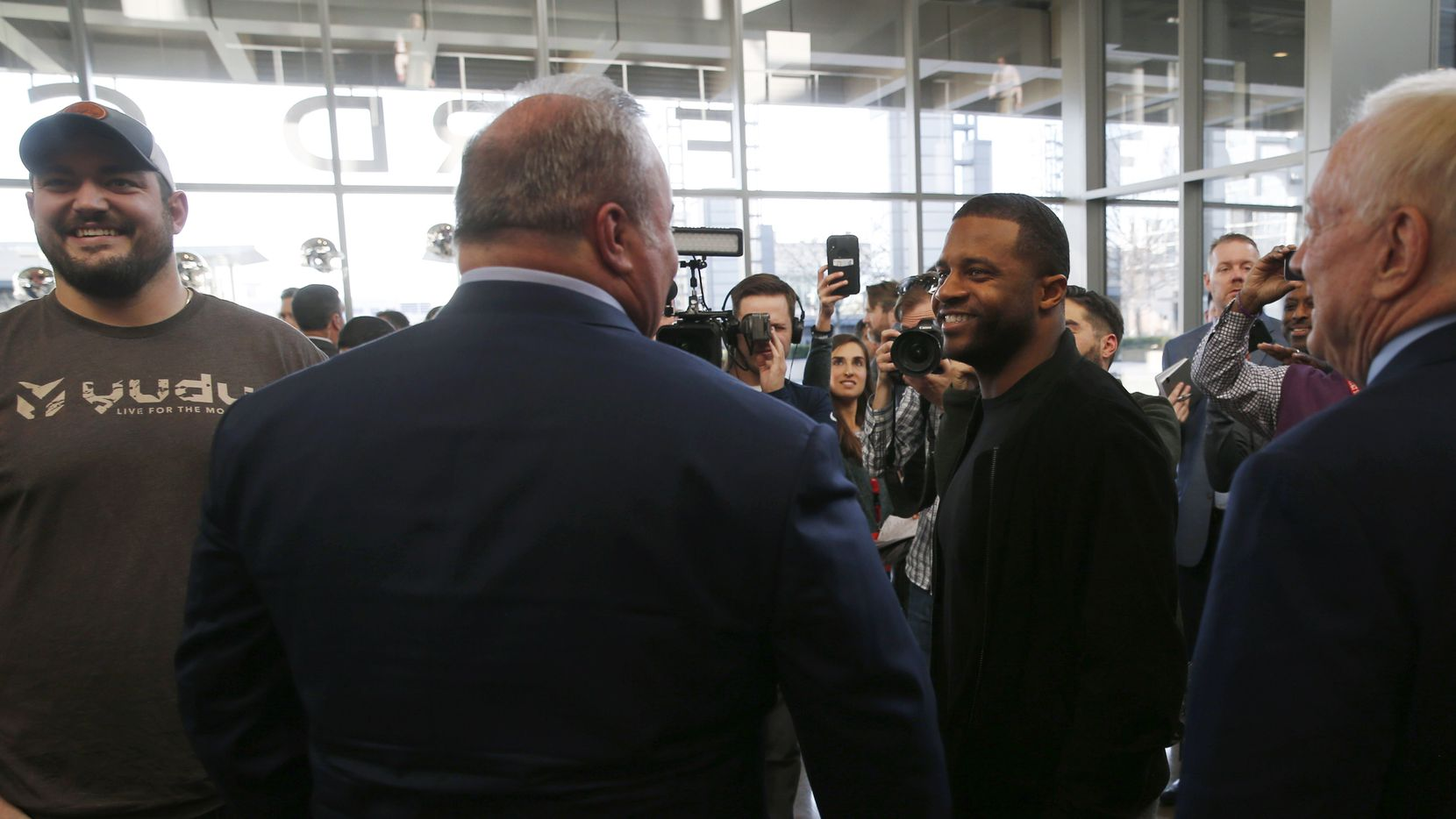 Dallas Cowboys wide receiver Randall Cobb (18) talks with Dallas Cowboys new head coach Mike McCarthy after his introductory press conference in the Ford Center at The Star in Frisco, on Wednesday, January 8, 2020.