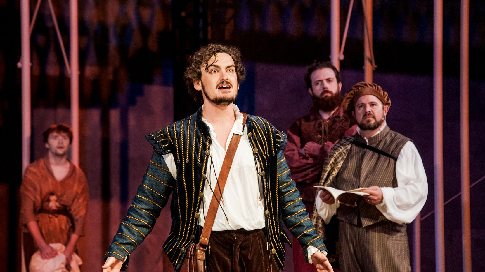 """Montgomery Sutton (center) as William Shakespeare in Shakespeare Dallas' 2019 summer production of """"Shakespeare in Love."""" The summer 2020 season has been canceled due to the COVID-19 pandemic."""