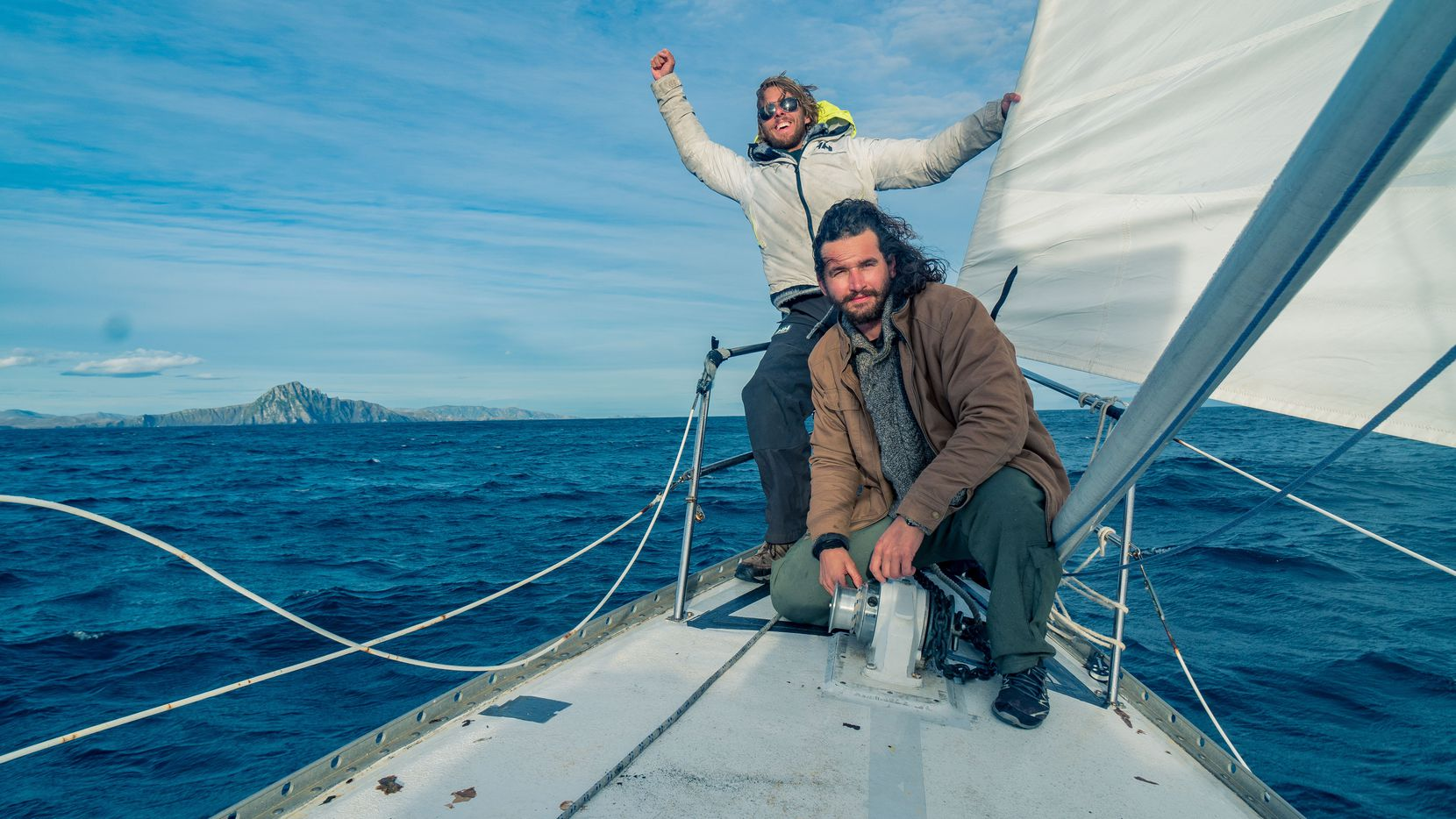 Navy veteran Taylor Grieger (front) and fellow Texan Stephen O'Shea appear in a documentary about their sailing journey to Cape Horn to raise awareness about the mental health crisis among military personnel and veterans.