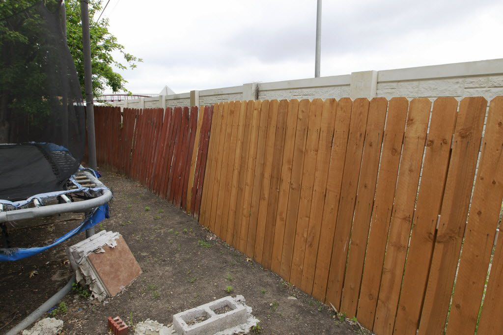 Maria Cazares' backyard not abuts the sound wall constructed to keep out the noise from the LBJ Express. (David Woo/Staff photographer)