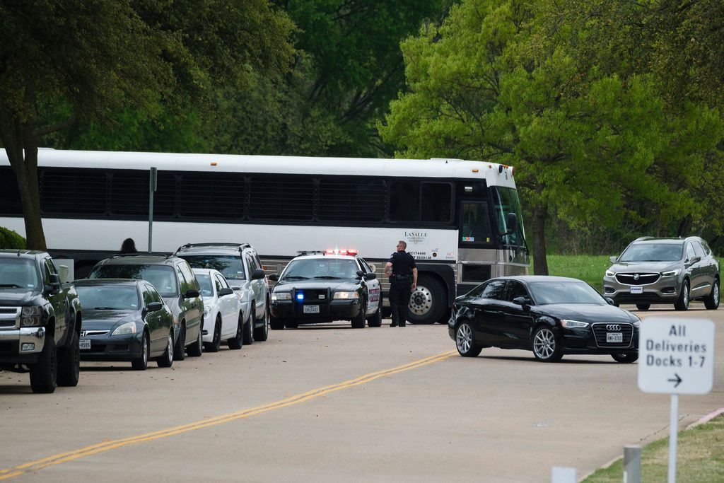 A bus from LaSalle Corrections Transport departs  CVE Group on Wednesday, April 3, 2019, in Allen.