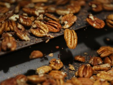 Inspectors look for insect bites, discolorations and remaining shell while examining pecans at Navarro Pecan Company in Corsicana in 2017.