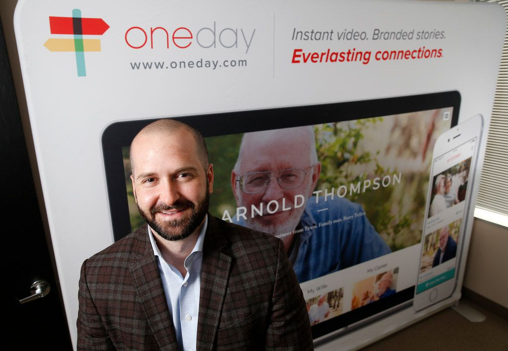 OneDay founder Clint Lee posed for a portrait at the Dallas office of OneDay in 2018. Lee developed an app for senior living communities that preserves the stories of older generations and helps properties personalize outreach to prospective residents.