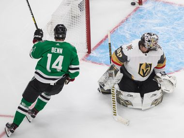 Dallas Stars' Jamie Benn (14) scores on Vegas Golden Knights goalie Robin Lehner (90) during the third period of Game 3 of the NHL hockey Western Conference final, Thursday, Sept. 10, 2020, in Edmonton, Alberta.