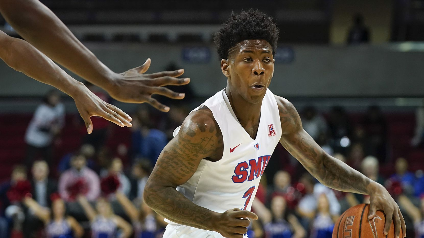 FILE - SMU guard Kendric Davis brings the ball up the floor during the first half of a game against East Carolina at Moody Coliseum on Wednesday, Jan. 22, 2020, in Dallas.