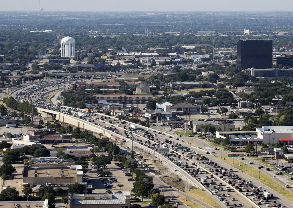 Traffic stacked up along Central Expressway looking north in Plano on Thursday.