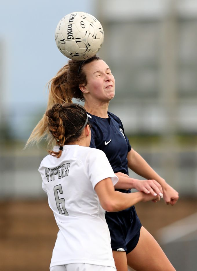 Lewisville Flower Mound's Tatum Beck (3) and Austin Vandegrift's Hailey Sapinoro (6) during their UIL 6A girls State championship soccer game at Birkelbach Field on April 16, 2021 in Georgetown, Texas. (Thao Nguyen/Special Contributor)