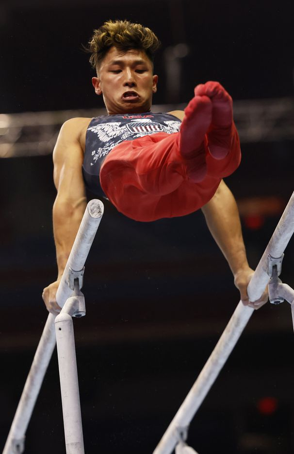 Yul Moldauer competes in the parallel bar during day 2 of the men's 2021 U.S. Olympic Trials at America's Center on Saturday, June 26, 2021 in St Louis, Missouri.(Vernon Bryant/The Dallas Morning News)