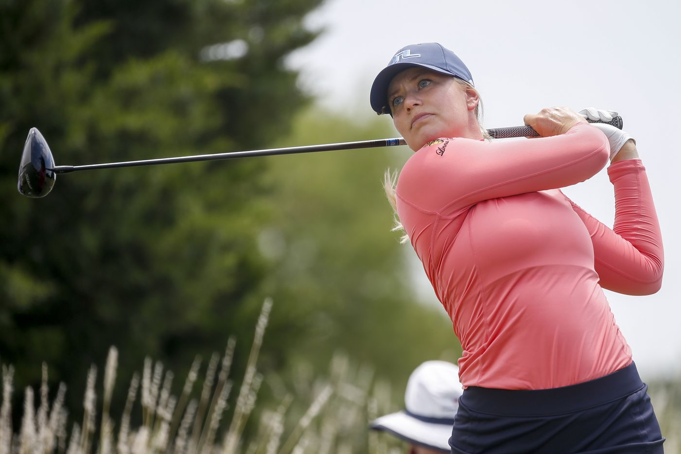 Professional golfer Matilda Castren hits off the No. 4 tee box during the final round of the LPGA VOA Classic on Sunday, July 4, 2021, in The Colony, Texas. (Elias Valverde II/The Dallas Morning News)