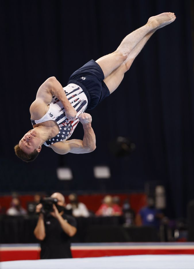 Brody Malone competes in the floor exercise during day 2 of the men's 2021 U.S. Olympic Trials at America's Center on Saturday, June 26, 2021 in St Louis, Missouri.(Vernon Bryant/The Dallas Morning News)