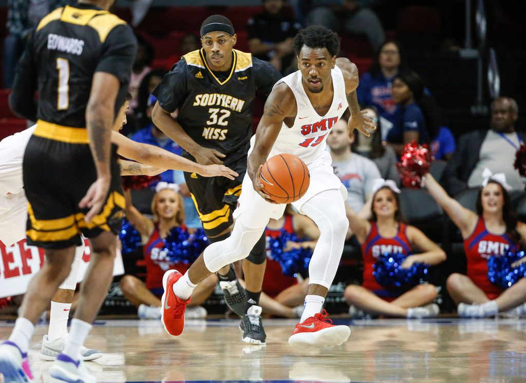 Southern Methodist Mustangs forward Isiaha Mike (15) drives around Southern Miss Golden Eagles defense during a matchup between the Southern Methodist Mustangs and the Southern Miss Golden Eagles on Sunday, Nov. 11, 2018 at Moody Coliseum in Dallas. (Ryan Michalesko/The Dallas Morning News)