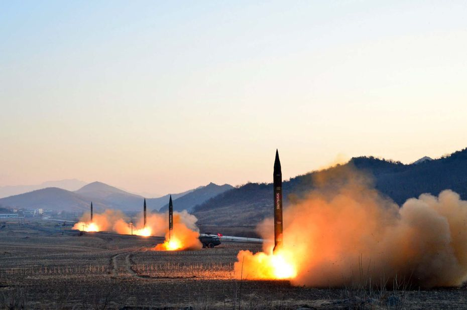 This undated picture released by North Korea's Korean Central News Agency (KCNA) via KNS on March 7, 2017 shows the launch of four ballistic missiles by the Korean People's Army (KPA) during a military drill at an undisclosed location in North Korea.  Nuclear-armed North Korea launched four ballistic missiles on March 6 in another challenge to President Donald Trump, with three landing provocatively close to America's ally Japan.
