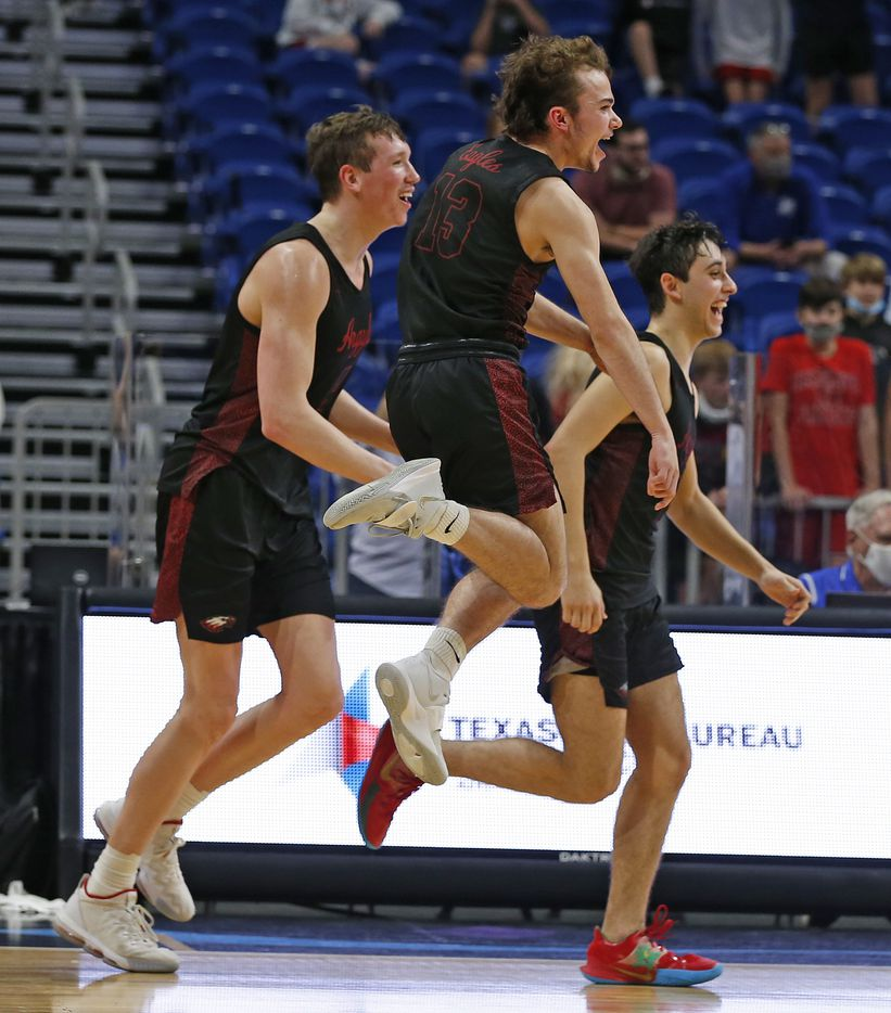 Argyle celebrates at the end of the game after defeating Hargrave. UIL boys Class 4A basketball state championship game between Argyle and Hargrave on Saturday, March 13, 2021 at the Alamodome.