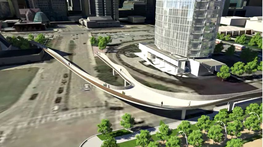 The sky bridge connecting the Arts District and Klyde Warren Park as seen in early renderings for the park's expansion, which will be partially covered by the bond package.