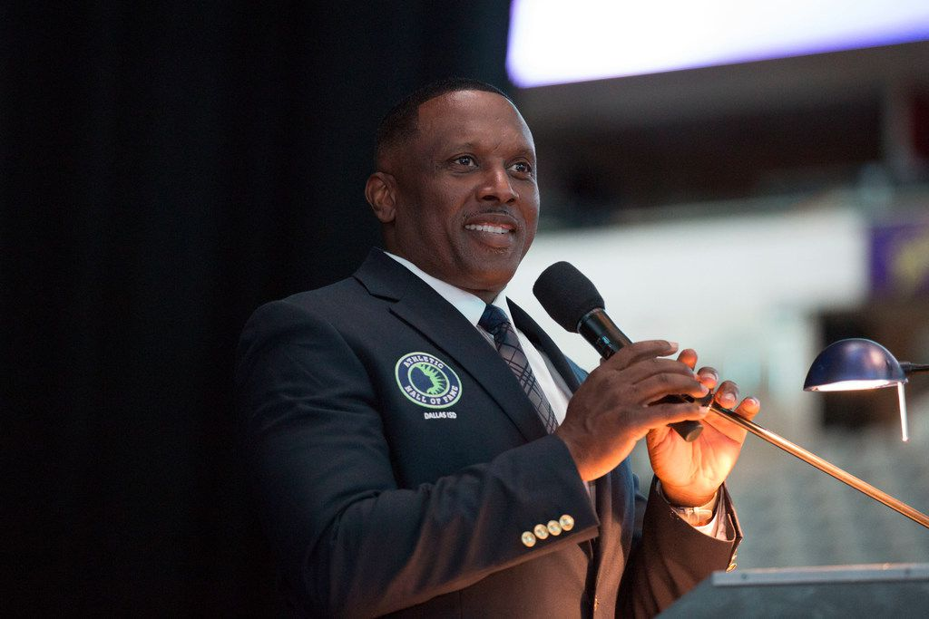FILE — Woodrow Wilson High School alumnus Tim Brown is inducted into the Dallas ISD Hall of Fame at American Airlines Center in Dallas, Texas, Friday, May 4, 2018. (Allison Slomowitz/ Special Contributor)