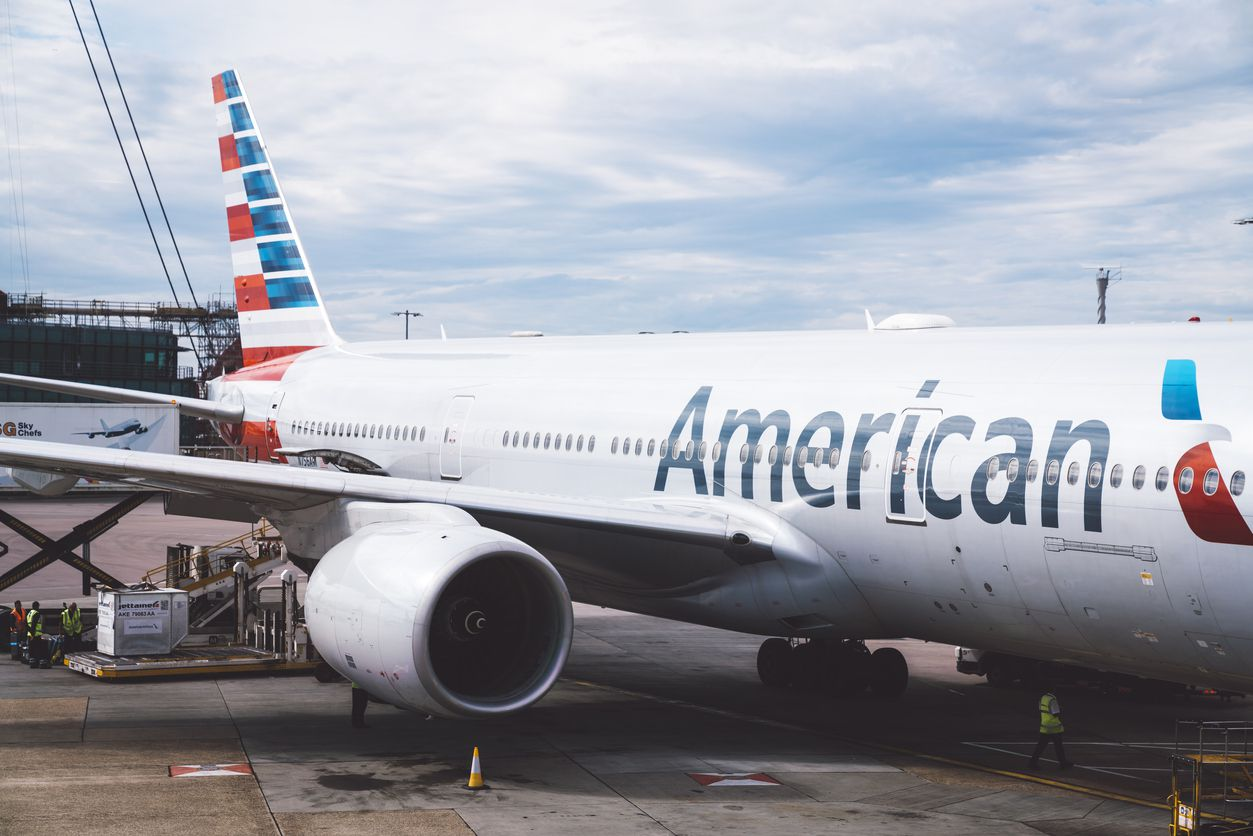 An American Airlines Boeing 777 at London's Heathrow Airport.