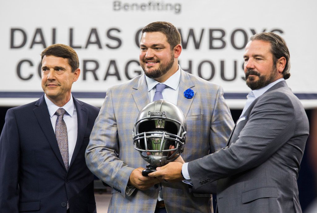 Dallas Cowboys offensive guard Zack Martin (70) receives the Ed Block Courage Award during the 2019 Dallas Cowboys Kickoff Luncheon on Wednesday, August 28, 2019 at AT&T Stadium in Arlington. The luncheon benefitted the Dallas Cowboys Charity House at Happy Hill Farms. (Ashley Landis/The Dallas Morning News)