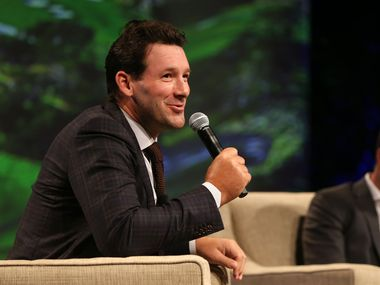 """Tony Romo speaks alongside Jordan Spieth during """"A Conversation With a Living Legend"""" at the Hilton Anatole in Dallas on Monday, Nov. 5, 2018. The event benefits the University of Texas MD Anderson Cancer Center."""