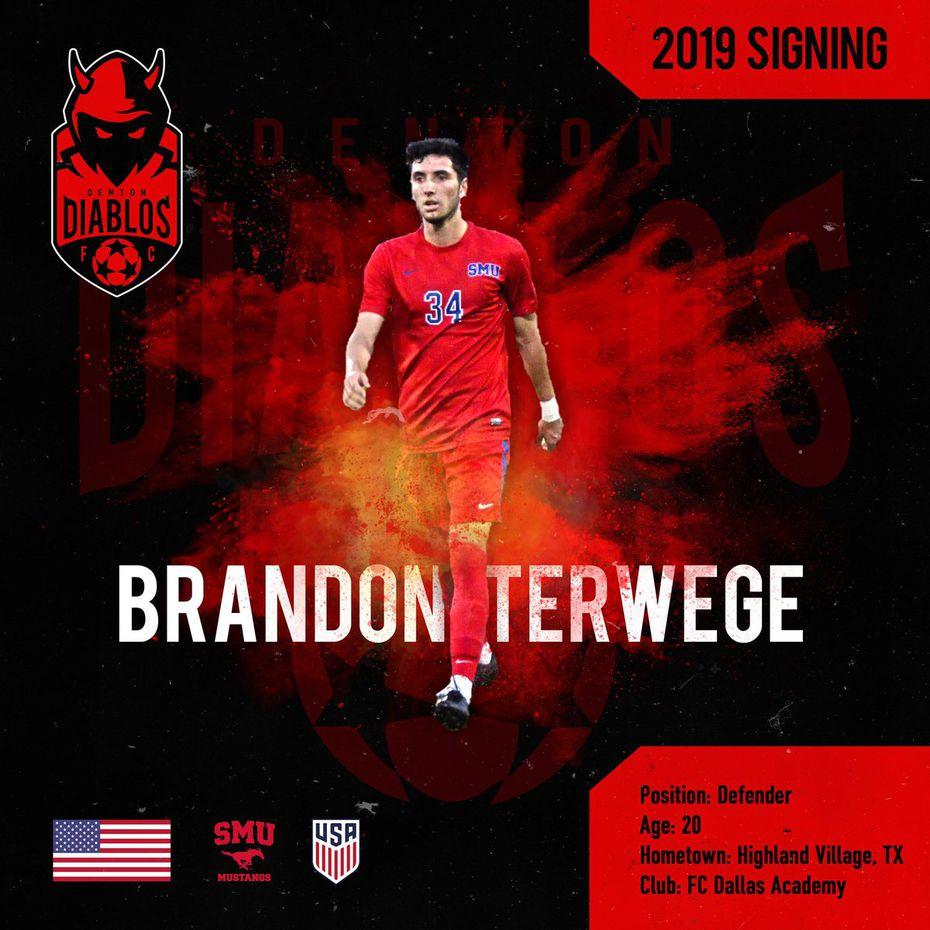 Denton Diablos social media announcement image of their first ever player signing, Brandon Terwege.