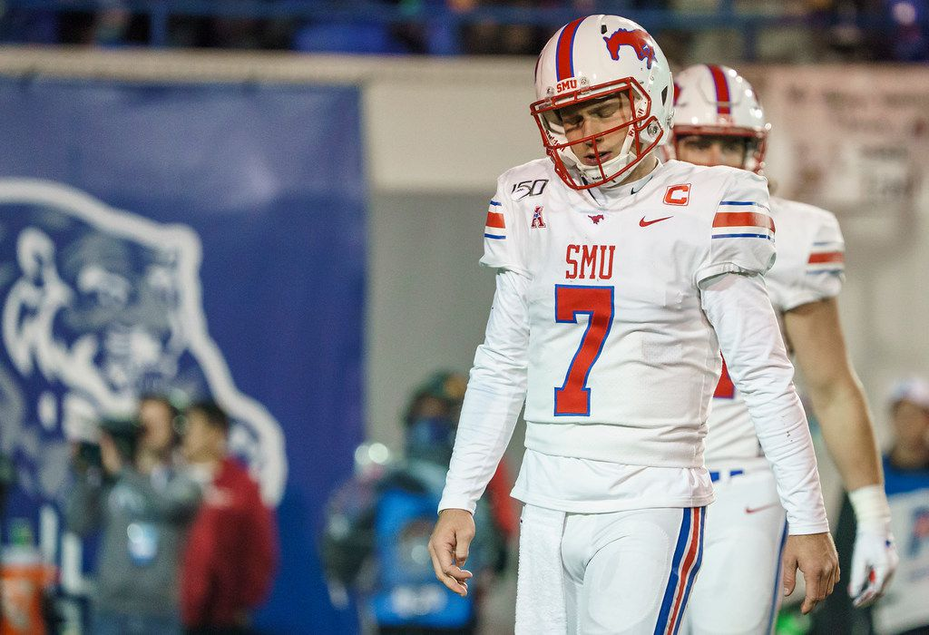 SMU quarterback Shane Buechele (7) reacts after throwing an incomplete pass during the second half of an NCAA football game against Memphis at Liberty Bowl Memorial Stadium on Saturday, Nov. 2, 2019, in Memphis, Tenn. (Smiley N. Pool/The Dallas Morning News)