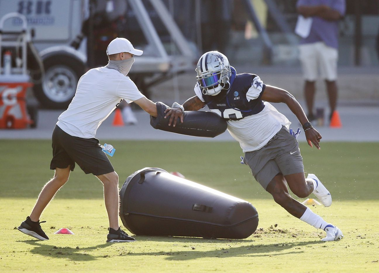 Dallas Cowboys cornerback Daryl Worley (28) runs through a drill during the first day of training camp at Dallas Cowboys headquarters at The Star in Frisco, Texas on Friday, August 14, 2020. (Vernon Bryant/The Dallas Morning News)