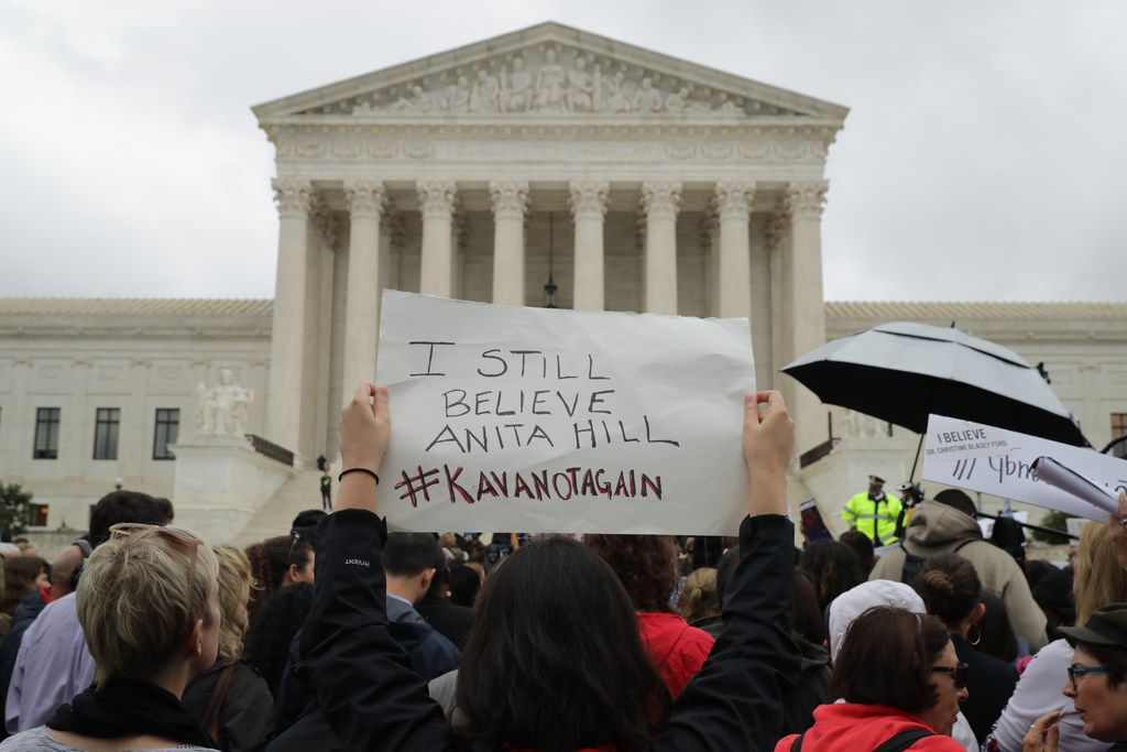 Protesters rally in front of the Supreme Court while demonstrating against the confirmation of Judge Brett Kavanaugh to the court September 24, 2018 in Washington, DC. Hundreds of people from half a dozen progressive organizations, including students from Yale University Law School, protested on Capitol Hill during a #BelieveSurvivors Walkout against Judge Kavanaugh, who has been accused by at least two women of sexual assault.